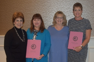 Mary Garrison, Janie DeJesus, Karen Barrett and Melinda Cordova at the TSAOHN Board Meeting 2/2/19.  Janie DeJesus, Director of Awards had awarded Mary Garrison, President and Melinda Cordova, Secretary the pink binders. Karen Barrett President Elect stands by them.